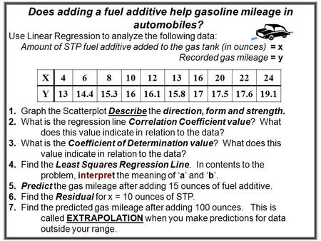 Does adding a fuel additive help gasoline mileage in automobiles? Use Linear Regression to analyze the following data: Amount of STP fuel additive added.