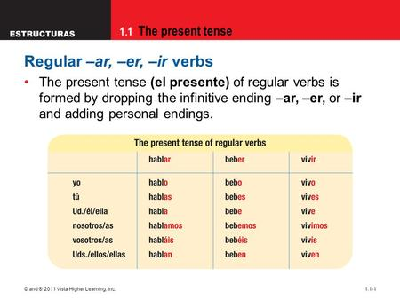 1.1 The present tense © and ® 2011 Vista Higher Learning, Inc.1.1-1 Regular –ar, –er, –ir verbs The present tense (el presente) of regular verbs is formed.