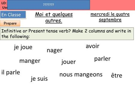 LO: Talk about ourselves and others to start speed dating! Use the present tense. Moi et quelques autres. En Classe mercredi le quatre septembre Present.