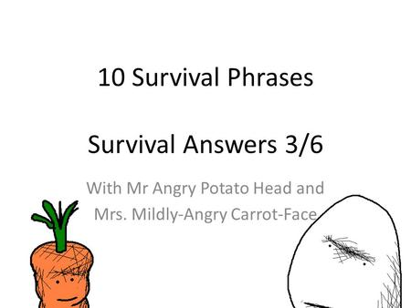 10 Survival Phrases Survival Answers 3/6 With Mr Angry Potato Head and Mrs. Mildly-Angry Carrot-Face.