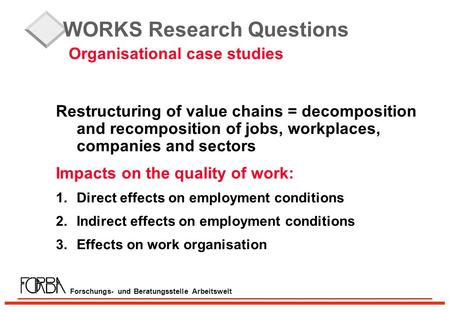 Forschungs- und Beratungsstelle Arbeitswelt WORKS Research Questions Organisational case studies Restructuring of value chains = decomposition and recomposition.
