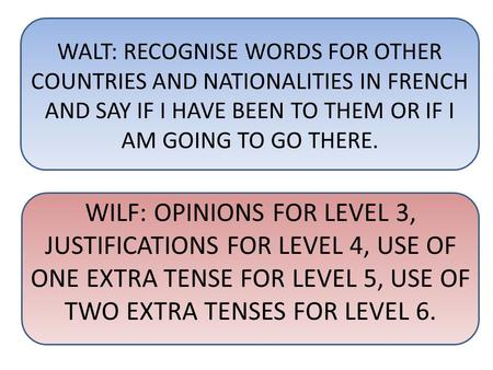 WALT: RECOGNISE WORDS FOR OTHER COUNTRIES AND NATIONALITIES IN FRENCH AND SAY IF I HAVE BEEN TO THEM OR IF I AM GOING TO GO THERE. WILF: OPINIONS FOR LEVEL.