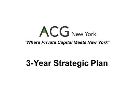 Where Private Capital Meets New York 3-Year Strategic Plan.