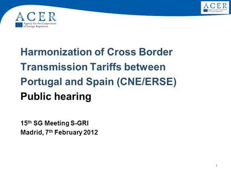 1 Harmonization of Cross Border Transmission Tariffs between Portugal and Spain (CNE/ERSE) Public hearing 15 th SG Meeting S-GRI Madrid, 7 th February.