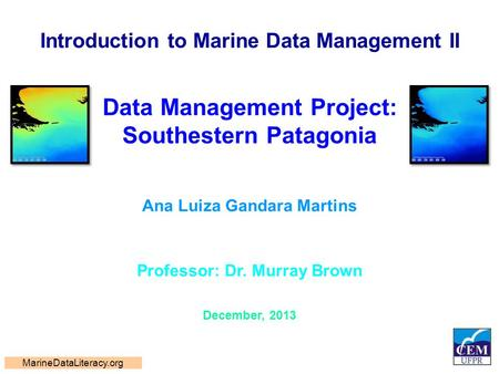 Introduction to Marine Data Management II Data Management Project: Southestern Patagonia Ana Luiza Gandara Martins Professor: Dr. Murray Brown December,