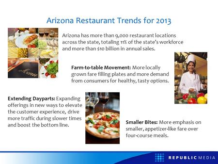 Arizona Restaurant Trends for 2013 Arizona has more than 9,000 restaurant locations across the state, totaling 11% of the states workforce and more than.