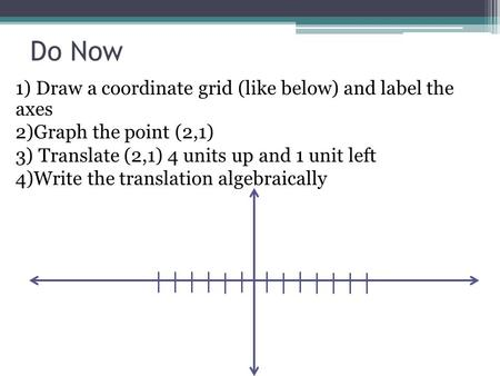 Do Now 1) Draw a coordinate grid (like below) and label the axes 2)Graph the point (2,1) 3) Translate (2,1) 4 units up and 1 unit left 4)Write the translation.