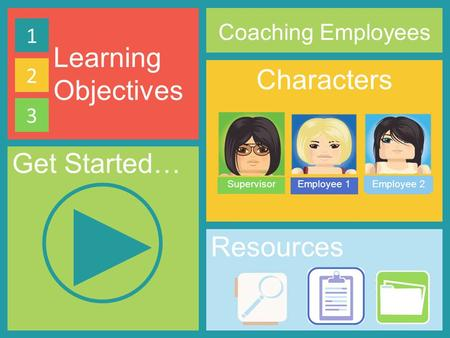 Learning Objectives Characters SupervisorEmployee 1Employee 2 Coaching Employees 1 2 3 Resources Get Started…