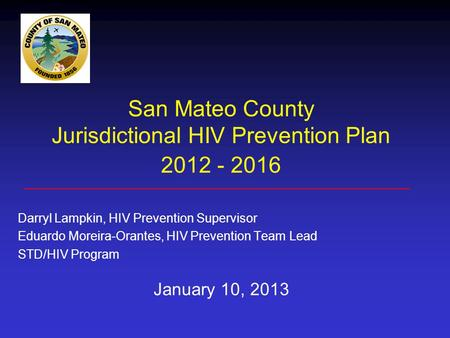 San Mateo County Jurisdictional HIV Prevention Plan