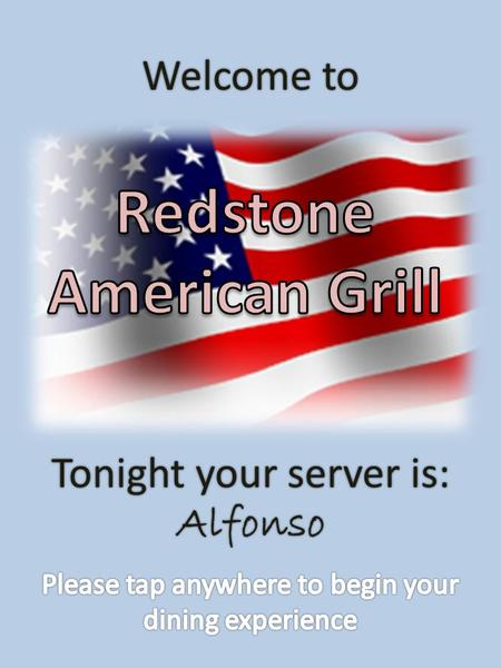 Welcome to Tonight your server is: Alfonso Menu Choice Gluten Free Gluten Free Gluten Free Gluten Free Vegetarian Regular.