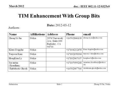 Submission doc.: IEEE 802.11-12/0325r0 March 2012 Slide 1 TIM Enhancement With Group Bits Date: 2012-03-12 Authors: Zhong-Yi Jin, Nokia.