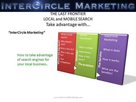 How to take advantage of search engines for your local business.. THE LAST FRONTIER LOCAL and MOBILE SEARCH Take advantage with… InterCircle Marketing.