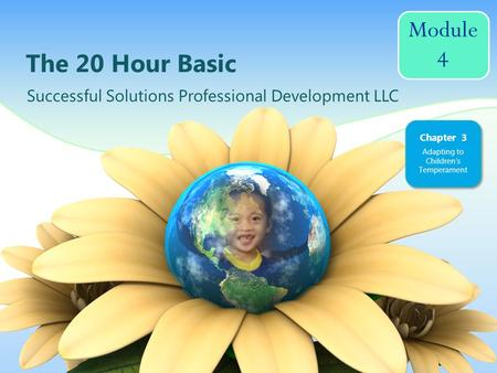Module 4 The 20 Hour Basic Successful Solutions Professional Development LLC Chapter 3 Adapting to Childrens Temperament.