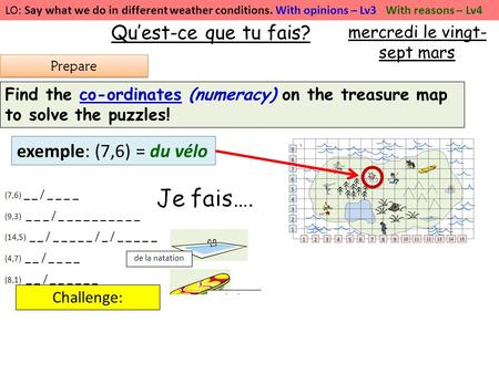 LO: Say what we do in different weather conditions. With opinions – Lv3 With reasons – Lv4 Quest-ce que tu fais? Find the co-ordinates (numeracy) on the.