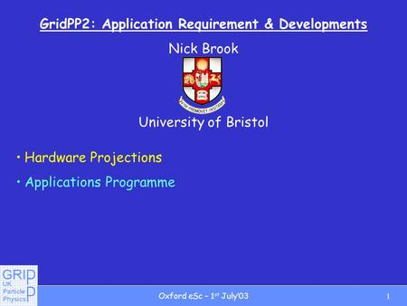 1Oxford eSc – 1 st July03 GridPP2: Application Requirement & Developments Nick Brook University of Bristol ALICE Hardware Projections Applications Programme.