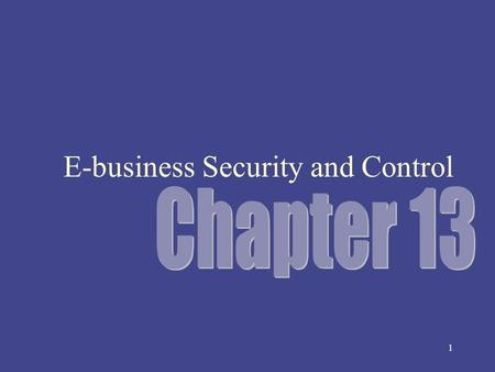 1 E-business Security and Control 2 Opening Case: Visa 10 commandments for online merchants – Maintaining a network firewall – Keeping security patches.