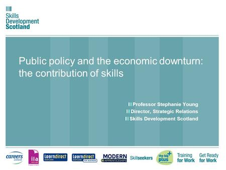 Public policy and the economic downturn: the contribution of skills Professor Stephanie Young Director, Strategic Relations Skills Development Scotland.