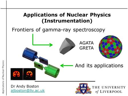 Applications of Nuclear Physics Applications of Nuclear Physics (Instrumentation) Dr Andy Boston Frontiers of gamma-ray spectroscopy.