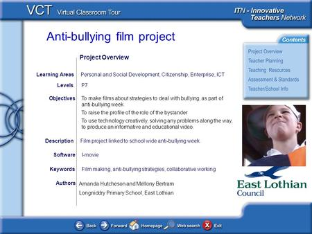 Anti-bullying film project Authors To make films about strategies to deal with bullying, as part of anti-bullying week To raise the profile of the role.