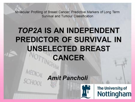 TOP2A IS AN INDEPENDENT PREDICTOR OF SURVIVAL IN UNSELECTED BREAST CANCER Amit Pancholi Molecular Profiling of Breast Cancer: Predictive Markers of Long.