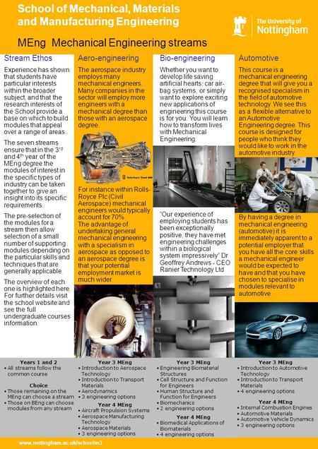 Www.nottingham.ac.uk/schoolm3 School of Mechanical, Materials and Manufacturing Engineering Automotive This course is a mechanical engineering degree that.