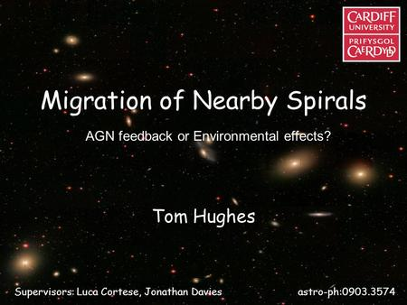 Migration of Nearby Spirals Tom Hughes AGN feedback or Environmental effects? Supervisors: Luca Cortese, Jonathan Davies astro-ph:0903.3574.
