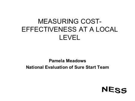 MEASURING COST- EFFECTIVENESS AT A LOCAL LEVEL Pamela Meadows National Evaluation of Sure Start Team.