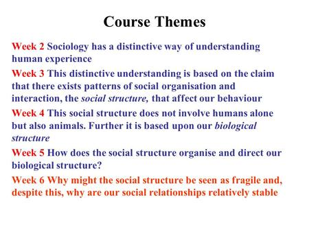 Course Themes Week 2 Sociology has a distinctive way of understanding human experience Week 3 This distinctive understanding is based on the claim that.