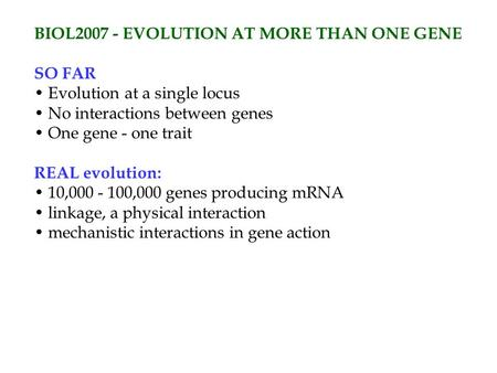 BIOL2007 - EVOLUTION AT MORE THAN ONE GENE SO FAR Evolution at a single locus No interactions between genes One gene - one trait REAL evolution: 10,000.