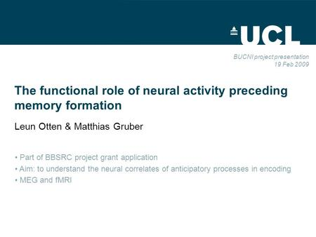 The functional role of neural activity preceding memory formation Leun Otten & Matthias Gruber BUCNI project presentation 19 Feb 2009 Part of BBSRC project.