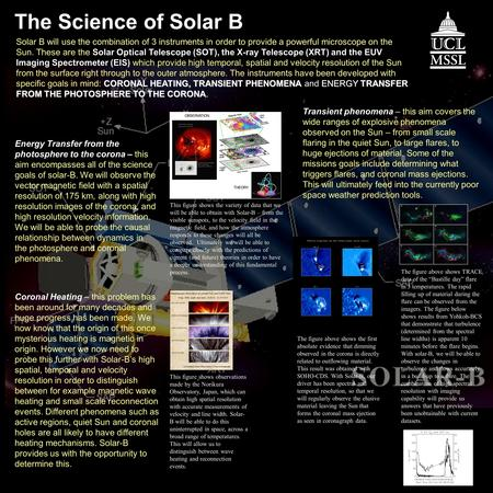 The Science of Solar B Transient phenomena – this aim covers the wide ranges of explosive phenomena observed on the Sun – from small scale flaring in the.