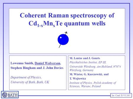 Int. Conf. II-VI 2007 Coherent Raman spectroscopy of Cd 1-x Mn x Te quantum wells Lowenna Smith, Daniel Wolverson, Stephen Bingham and J. John Davies Department.