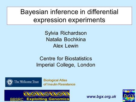BGX 1 Sylvia Richardson Natalia Bochkina Alex Lewin Centre for Biostatistics Imperial College, London Bayesian inference in differential expression experiments.