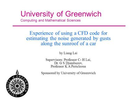 University of Greenwich Computing and Mathematical Sciences