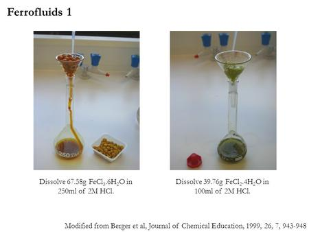 Dissolve 67.58g FeCl 3.6H 2 O in 250ml of 2M HCl. Dissolve 39.76g FeCl 2.4H 2 O in 100ml of 2M HCl. Ferrofluids 1 Modified from Berger et al, Journal of.