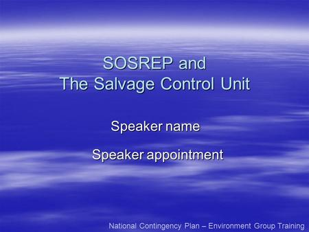 The Salvage Control Unit
