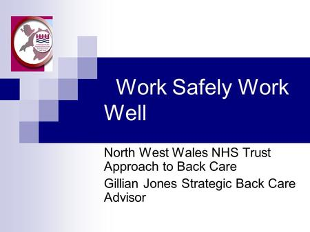 Work Safely Work Well North West Wales NHS Trust Approach to Back Care Gillian Jones Strategic Back Care Advisor.