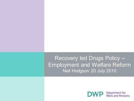 Recovery led Drugs Policy – Employment and Welfare Reform Neil Hodgson 20 July 2010.