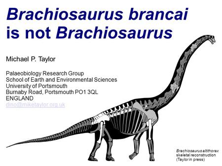 Brachiosaurus brancai is not Brachiosaurus Michael P. Taylor Palaeobiology Research Group School of Earth and Environmental Sciences University of Portsmouth.