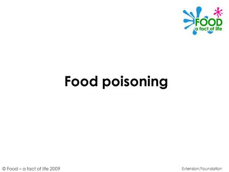 Food poisoning Extension/Foundation.