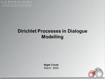 Dirichlet Processes in Dialogue Modelling