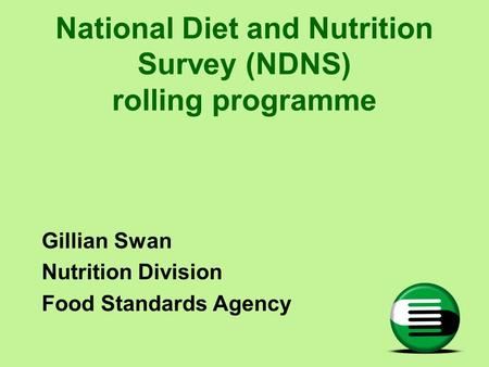 National Diet and Nutrition Survey (NDNS) rolling programme