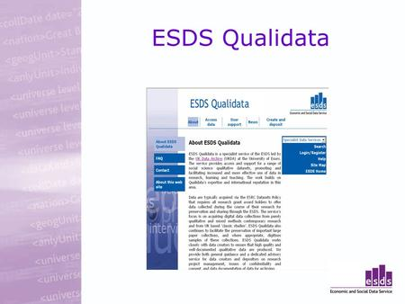 ESDS Qualidata. Qualitative Data Collections Data from National Research Council (ESRC) individual research grant awards Data from ESRC Programme research.