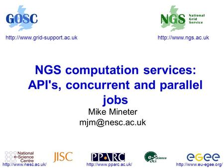 NGS computation services: API's,