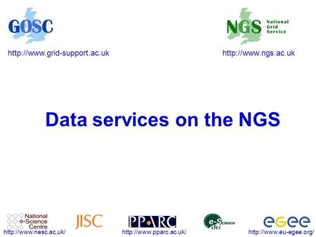 Data services on the NGS.