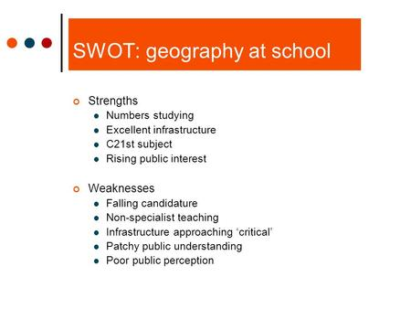 SWOT: geography at school Strengths Numbers studying Excellent infrastructure C21st subject Rising public interest Weaknesses Falling candidature Non-specialist.