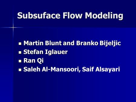 Subsuface Flow Modeling