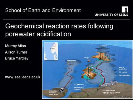 School of Earth and Environment Geochemical reaction rates following porewater acidification Murray Allan Alison Turner Bruce Yardley www.see.leeds.ac.uk.
