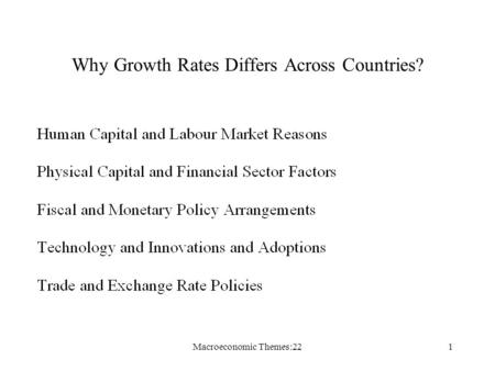 Macroeconomic Themes:221 Why Growth Rates Differs Across Countries?
