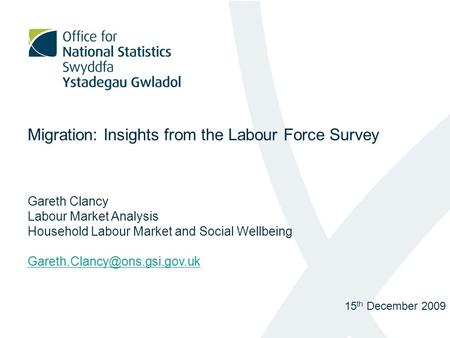 Migration: Insights from the Labour Force Survey Gareth Clancy Labour Market Analysis Household Labour Market and Social Wellbeing